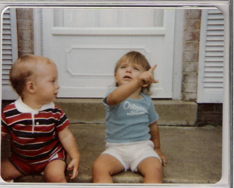 My cousin Blake watches me point in 1983