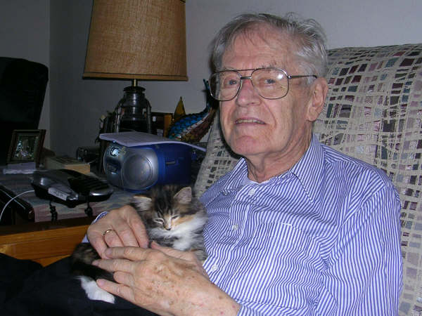 Here is  my Grandad with his cat, Puddy
